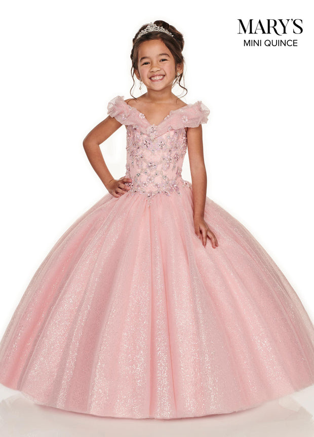 Girls Long Off Shoulder Glitter Dress by Mary's Bridal MQ4012-Girls Formal Dresses-ABC Fashion