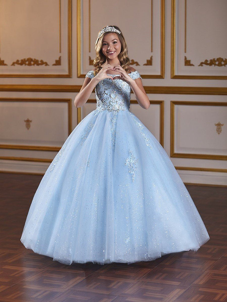 Girls Long Off Shoulder Glitter Dress by Tiffany Princess 13582-Girls Formal Dresses-ABC Fashion