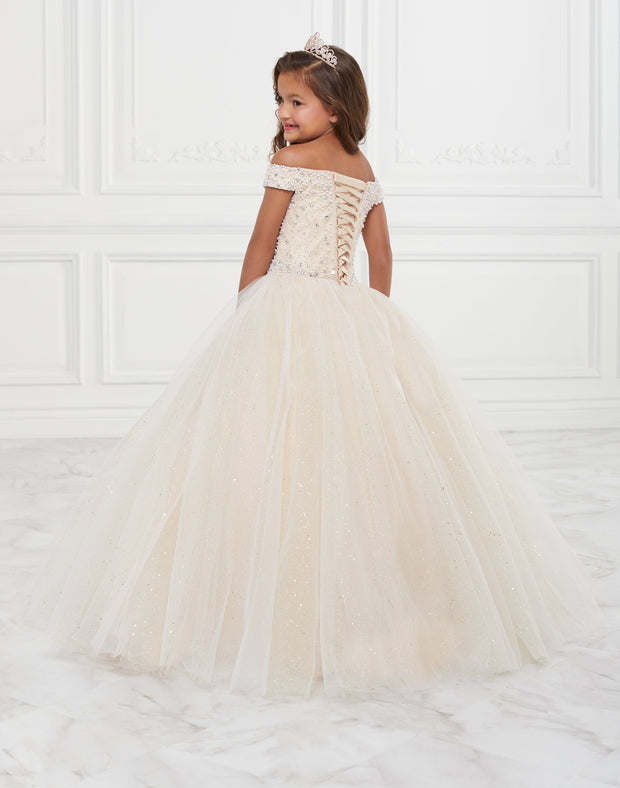 Girls Long Off Shoulder Glitter Dress by Tiffany Princess 13590-Girls Formal Dresses-ABC Fashion