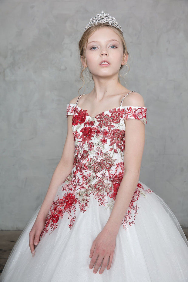 Girls Long Off the Shoulder Dress with Floral Embroidery by Calla SY132-Girls Formal Dresses-ABC Fashion