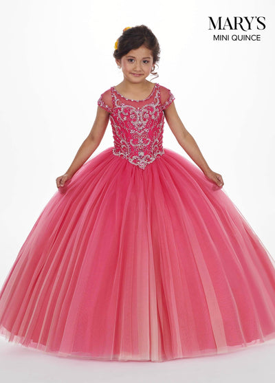 Girls Long Ombre Dress with Short Sleeves by Mary's Bridal MQ4007-Girls Formal Dresses-ABC Fashion