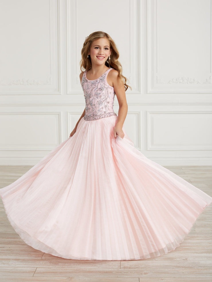 Girls Long Pleated Organza Dress by Tiffany Princess 13628
