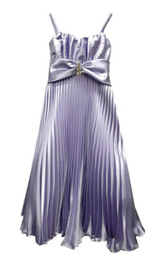 Girls Long Pleated Satin Dress by Calla D809