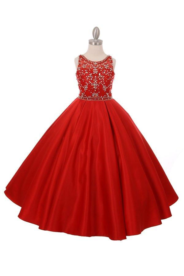 Girls Long Pocket Dress with Beaded Illusion Bodice-Girls Formal Dresses-ABC Fashion