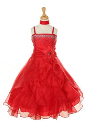 Girls Long Red Dresses with Scarf and Ruffled Skirt-Girls Formal Dresses-ABC Fashion