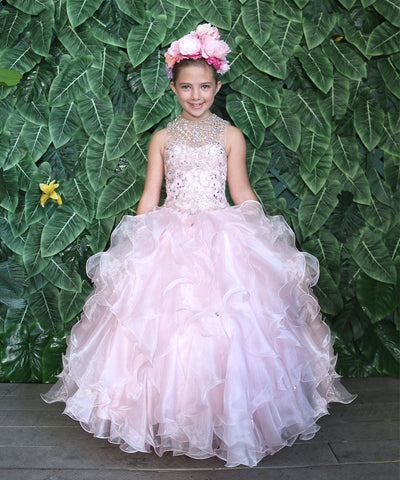 Girls Long Ruffled Dress with Beaded Bodice by Calla KY213-Girls Formal Dresses-ABC Fashion