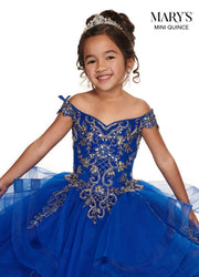 Girls Long Ruffled Off Shoulder Dress by Mary's Bridal MQ4013-Girls Formal Dresses-ABC Fashion