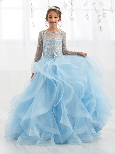 Girls Long-Sleeve Ball Gown with Ruffled Skirt by Tiffany Princess 13555-Girls Formal Dresses-ABC Fashion