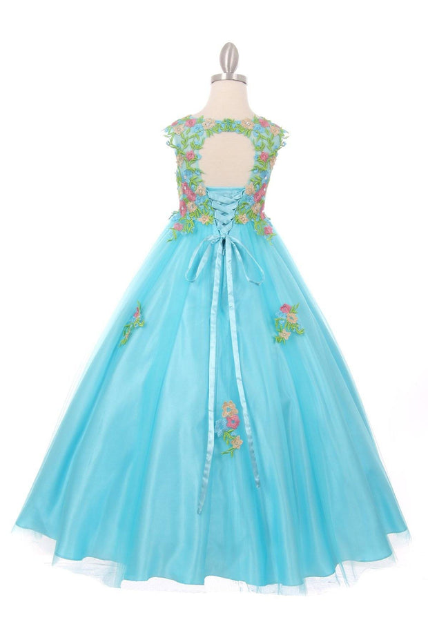 Girls Long Sleeveless Dress with Floral Embroidery-Girls Formal Dresses-ABC Fashion