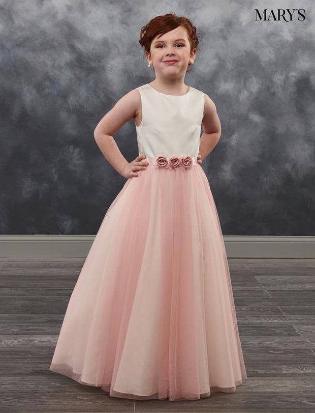 Girls Long Sleeveless Dress with Floral Sash by Mary's Bridal MB9023