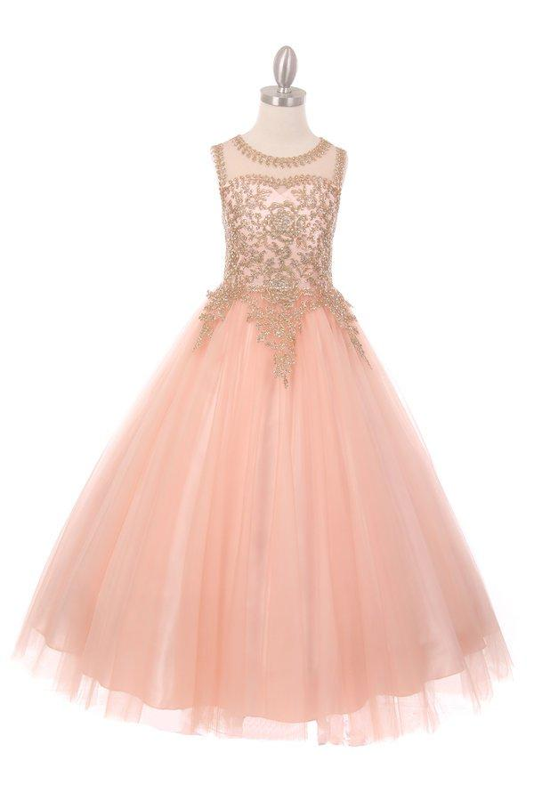 Girls Long Sleeveless Dress with Gold Lace Appliqued Bodice-Girls Formal Dresses-ABC Fashion