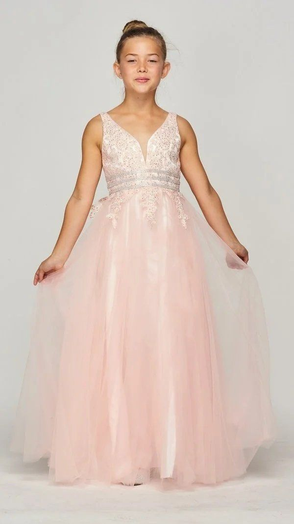 Girls Long Sleeveless Dress with Lace Top by Cinderella Couture 5082