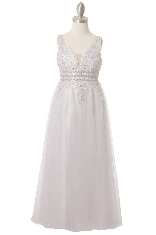 Girls Long Sleeveless Dress with Lace Top by Cinderella Couture 5082-Girls Formal Dresses-ABC Fashion