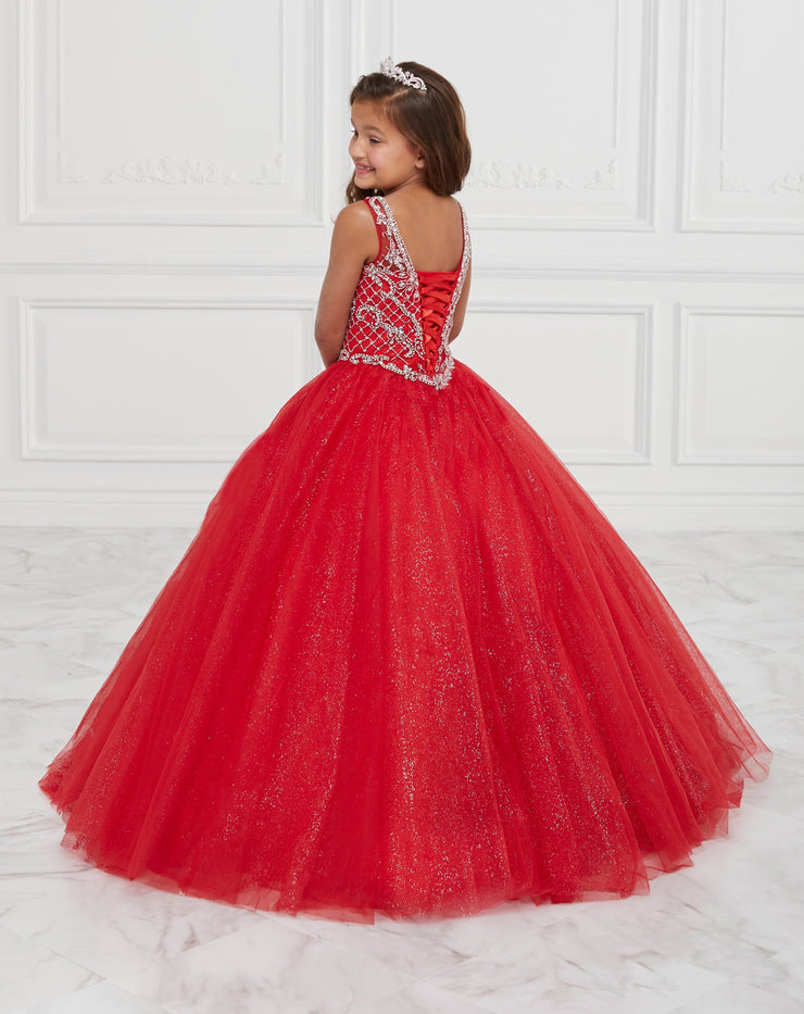 Girls Long Sleeveless Glitter Dress by Tiffany Princess 13597-Girls Formal Dresses-ABC Fashion