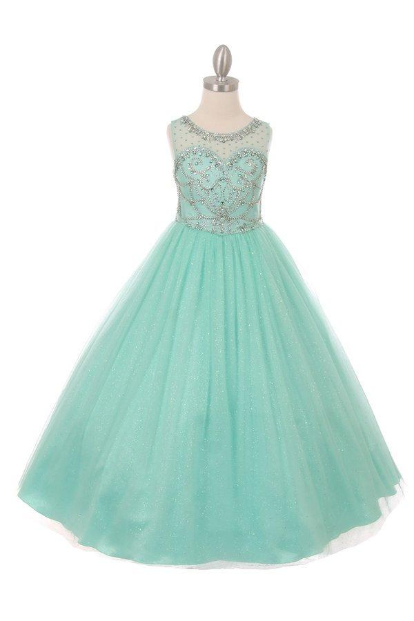Girls Long Sleeveless Glitter Tulle Dress with Beaded Illusion Bodice-Girls Formal Dresses-ABC Fashion