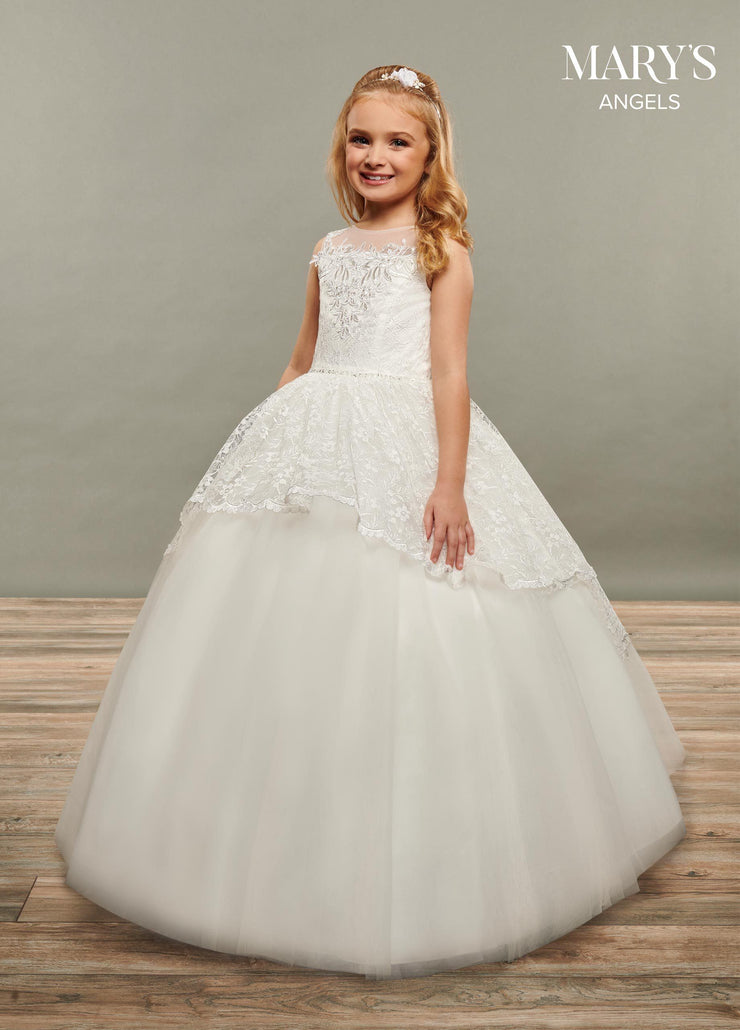 Girls Long Sleeveless Lace and Tulle Dress by Mary's Bridal MB9070