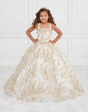 Girls Long Sleeveless Metallic Lace Dress by Tiffany Princess 13592-Girls Formal Dresses-ABC Fashion