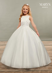 Girls Long Sleeveless Satin Dress by Mary's Bridal MB9067