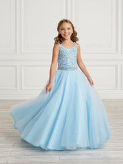 Girls Long Sparkle Tulle Dress by Tiffany Princess 13626
