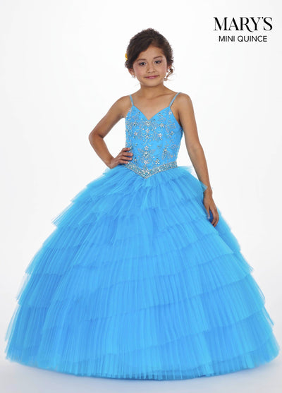 Girls Long Sweetheart Dress with Tiered Skirt by Mary's Bridal MQ4006-Girls Formal Dresses-ABC Fashion