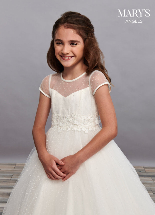 Girls Long Swiss Dot Dress with Cap Sleeves by Mary's Bridal MB9064-Girls Formal Dresses-ABC Fashion