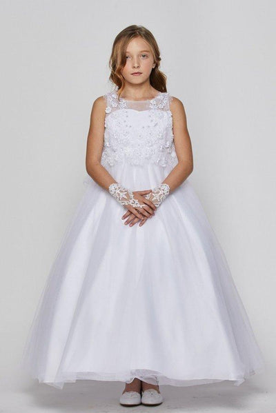 Girls Long Tulle Dress with 3D Flowers by Cinderella Couture 5035-Girls Formal Dresses-ABC Fashion