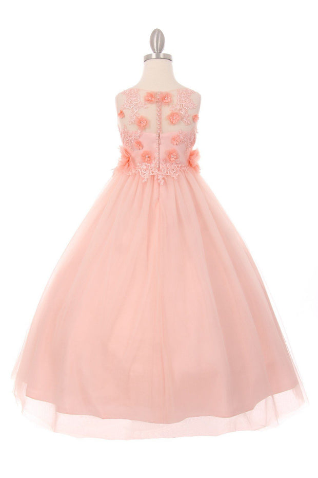 Girls Long Tulle Dress with Floral Appliques by Cinderella Couture 5034-Girls Formal Dresses-ABC Fashion
