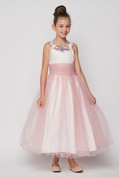 Girls Long Two Tone Dress with Floral Neckline by Cinderella Couture 9074-Girls Formal Dresses-ABC Fashion