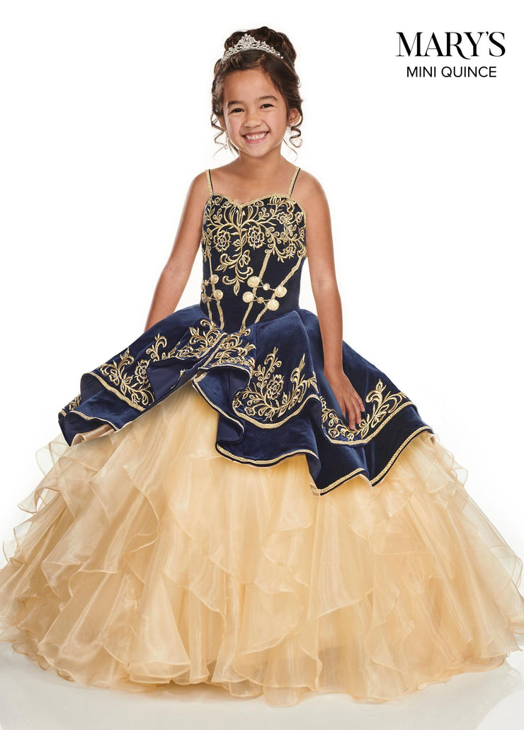 Girls Long Velvet Charro Dress by Mary's Bridal MQ4015-Girls Formal Dresses-ABC Fashion
