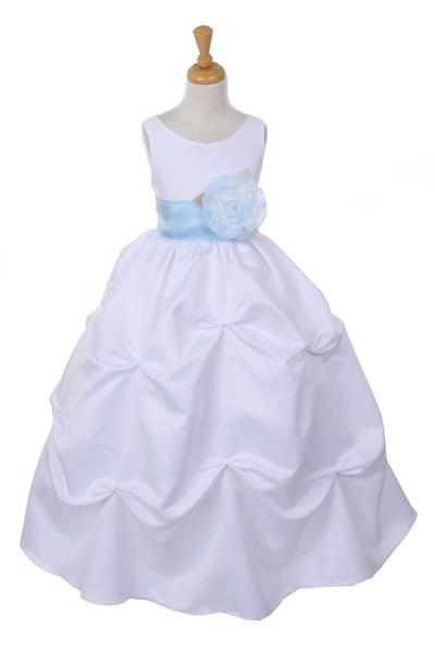 Girls Long White Pick-Up Dress with Baby Blue Floral Sash-Girls Formal Dresses-ABC Fashion