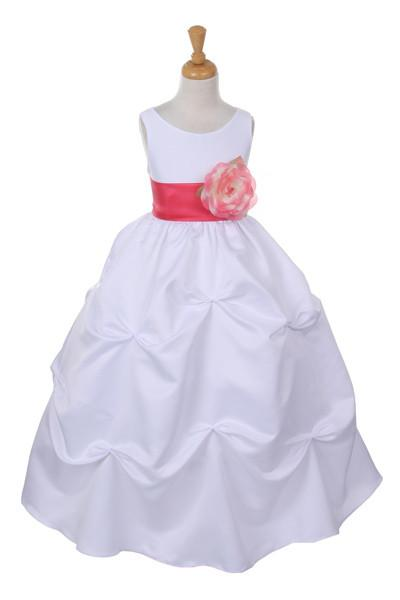 Girls Long White Pick-Up Dress with Coral Floral Sash-Girls Formal Dresses-ABC Fashion