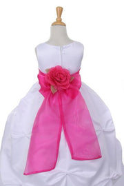 Girls Long White Pick-Up Dress with Fuchsia Floral Sash-Girls Formal Dresses-ABC Fashion
