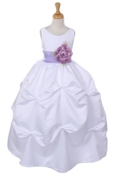 Girls Long White Pick-Up Dress with Lilac Floral Sash-Girls Formal Dresses-ABC Fashion