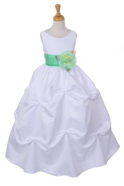 Girls Long White Pick-Up Dress with Mint Floral Sash-Girls Formal Dresses-ABC Fashion
