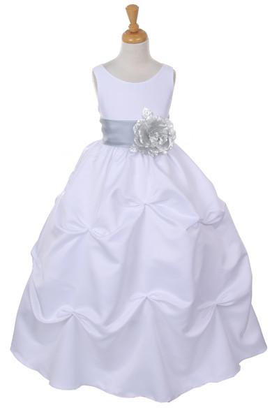 Girls Long White Pick-Up Dress with Silver Floral Sash-Girls Formal Dresses-ABC Fashion