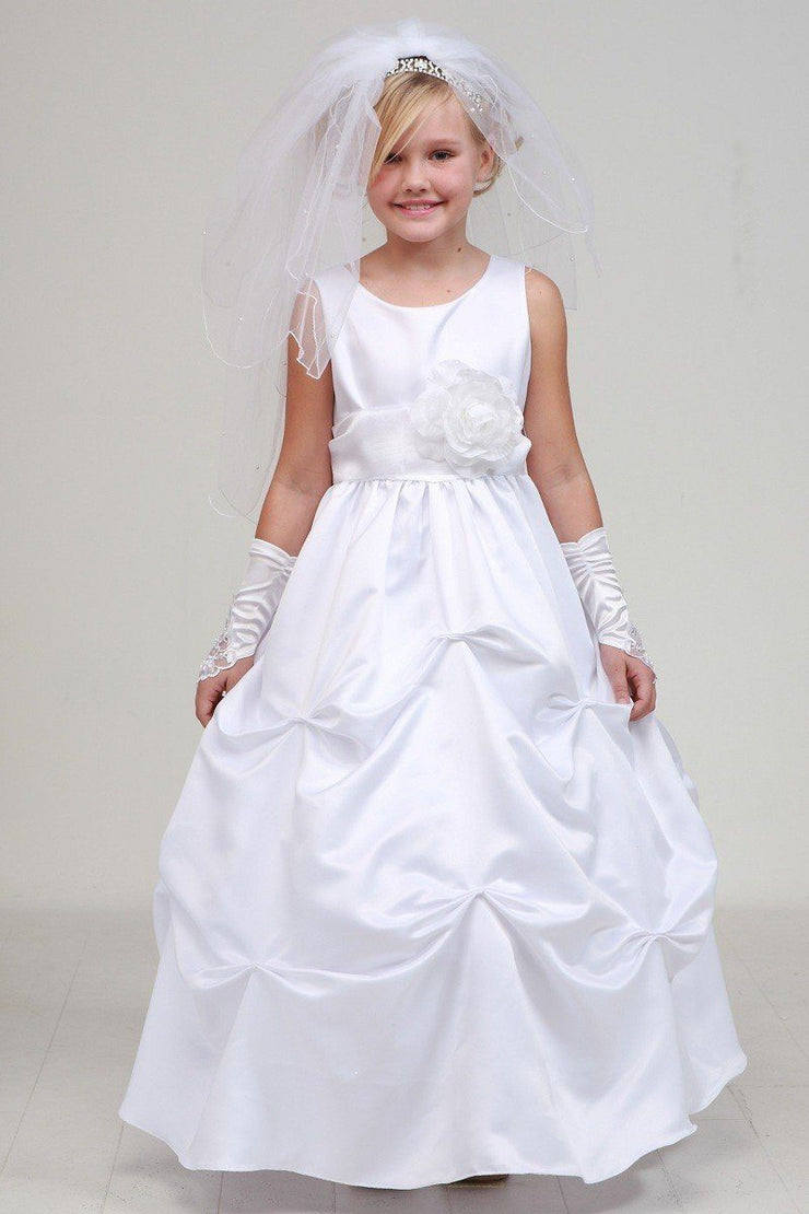 Girls Long White Pick-Up Dress with Turquoise Floral Sash-Girls Formal Dresses-ABC Fashion