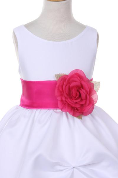 Girls Long White Pick-Up Dress with White Floral Sash-Girls Formal Dresses-ABC Fashion