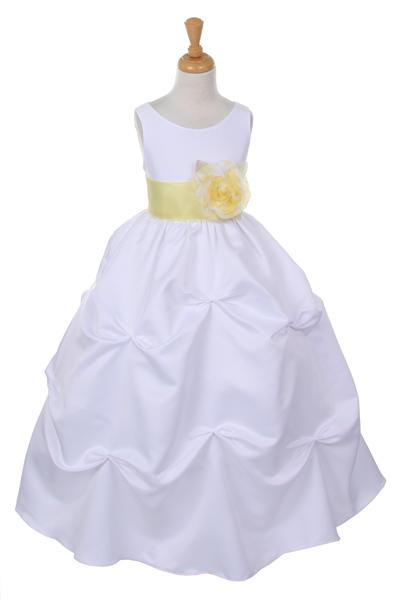 Girls Long White Pick-Up Dress with Yellow Floral Sash-Girls Formal Dresses-ABC Fashion