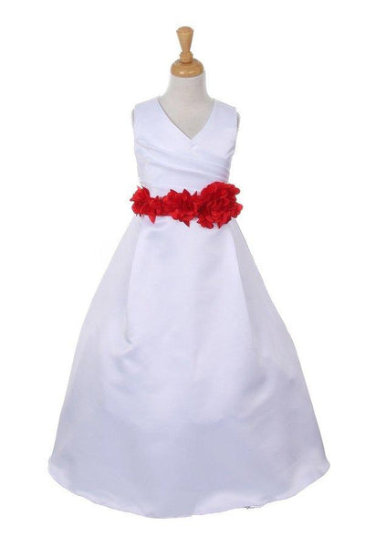 Girls Long White Satin V-Neck Dress with Floral Petal Sash-Girls Formal Dresses-ABC Fashion