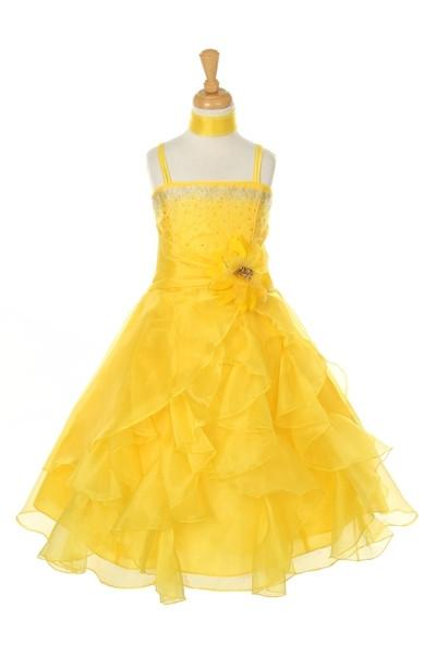 Girls Long Yellow Dresses with Scarf and Ruffled Skirt-Girls Formal Dresses-ABC Fashion
