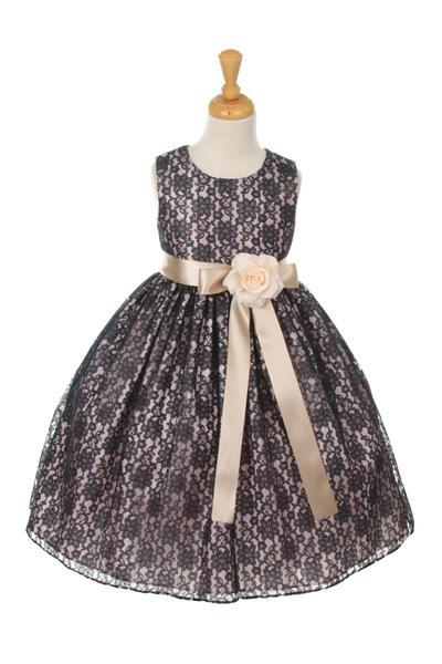 Girls Navy Blue Raschel Lace Tea Length Dress with Sash-Girls Formal Dresses-ABC Fashion