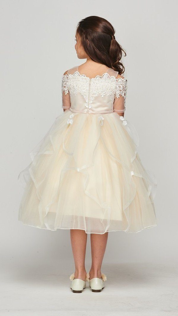 Girls Off Shoulder Lace Dress by Cinderella Couture 5091