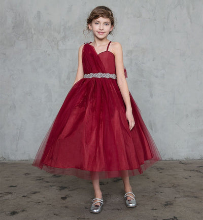 Girls One Shoulder Tulle Dress with Beaded Embellishments-Girls Formal Dresses-ABC Fashion