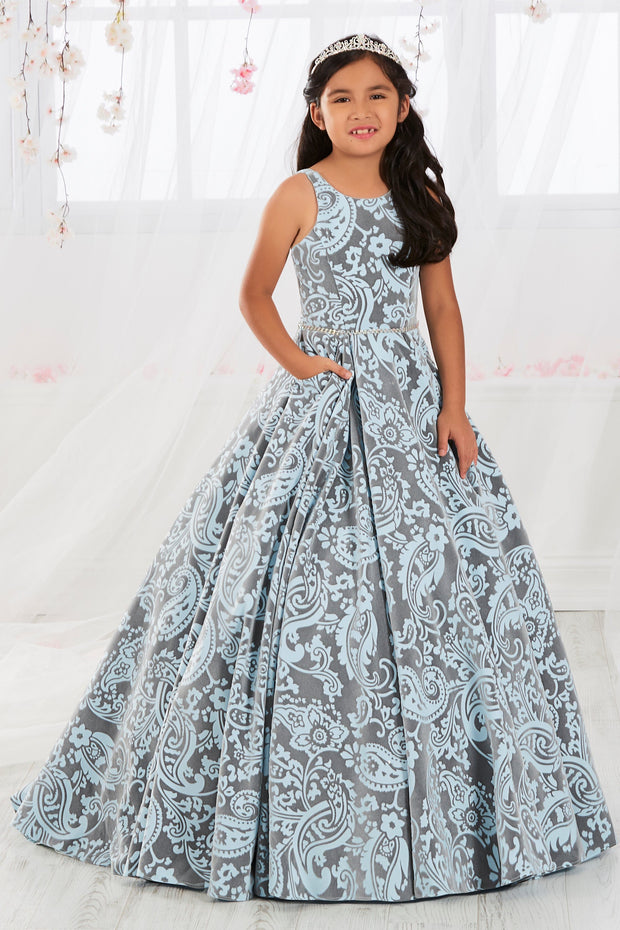 Girls Paisley Print Long Velvet Brocade Dress by Tiffany Princess 13564-Girls Formal Dresses-ABC Fashion