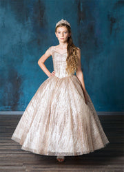 Girls Patterned Glitter Off Shoulder Ball Gown by Calla SY141