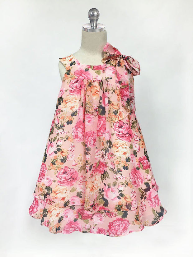 Girls Peach/Pink Short Chiffon Floral Print Dress by Calla C621-Girls Formal Dresses-ABC Fashion