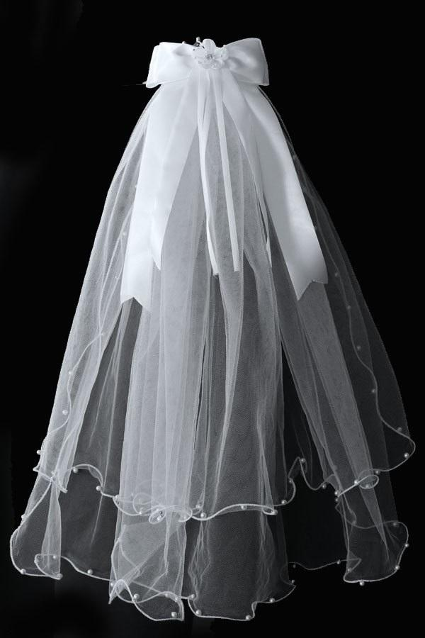Girls Pearl Beaded First Communion Veil with Crown