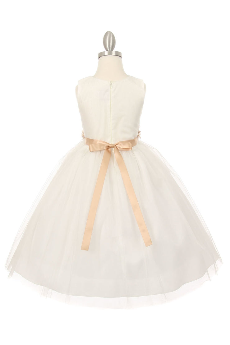 Girls Pleated Ivory Tea Length Tulle Dress with Flower Sash-Girls Formal Dresses-ABC Fashion