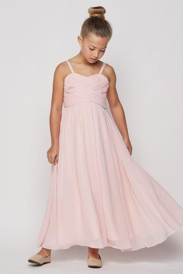 Girls Pleated Long Chiffon Dress by Cinderella Couture 5024-Girls Formal Dresses-ABC Fashion