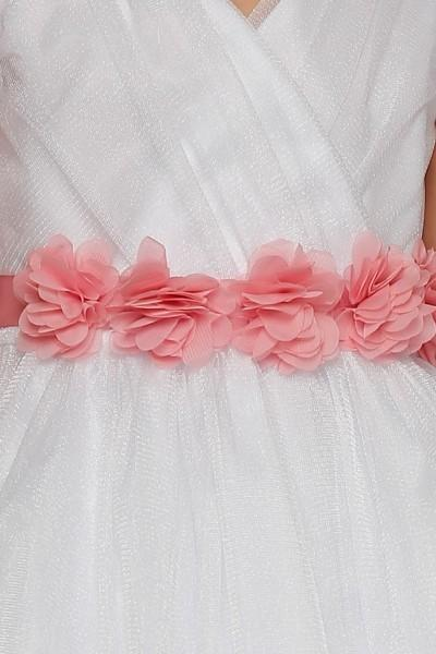 Girls Pleated Red Tea Length Tulle Dress with Flower Sash-Girls Formal Dresses-ABC Fashion
